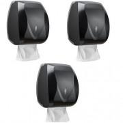 Kit com 3 Dispensers Toalheiro Velox Preto Premisse C19530