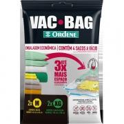 Kit com 4 Sacos a Vacuo 2 Tamanhos VAC BAG Ordene OR56500