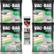 Kit com 4 Sacos À Vácuo VAC BAG Ordene EXTRA Grande 80X100 + Bomba