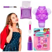 Kit Maquiagem Infantil Relogio GLOSS Sombra e Batom Makebrinq Polibrinq MK01