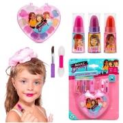Kit Maquiagem Infantil Sombras e Batom Makebrinq Polibrinq MK02