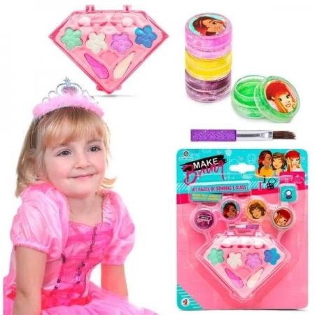 Kit Maquiagem Infantil Sombras e GLOSS Makebrinq Polibrinq MK02