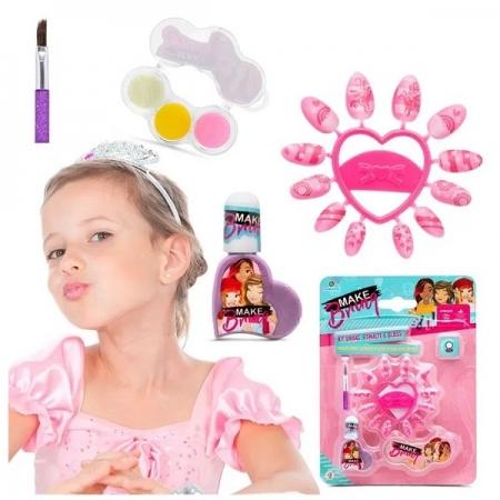 Kit Maquiagem Infantil UNHAS Esmalte e GLOSS Makebrinq Polibrinq MK01