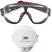 Kit Mascara PFF2 3M Aura 9320 + Oculos 3M GG500