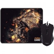 Kit Mouse e Mousepad Gamer Arena 6 Botoes LED 2.400DPI OEX MC102