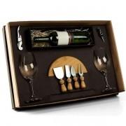 Kit Queijo e Vinho com Espaço para Garrafa  9 PCS WELF KT-90007