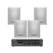 Kit Sonorizaçao SLIM 800 APP SLIM 800 APP + 4 Caixas PS200 Branca FRAHM 31872