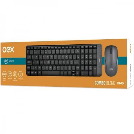 Kit Teclado e Mouse sem Fio 1200 DPI OEX BLEND TM404 Cinza