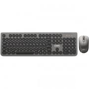 Kit Teclado e Mouse sem Fio 1600 DPI Teclas Redondas Chumbo OEX POP + TM410