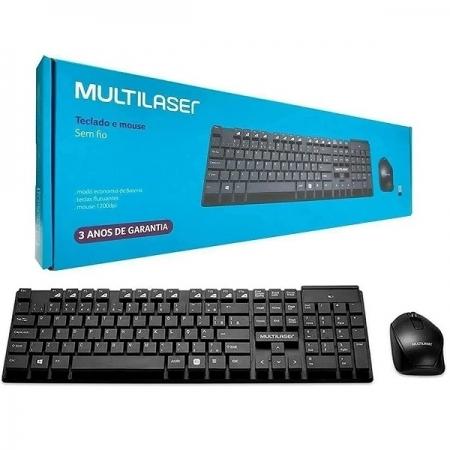 Kit Teclado e Mouse sem Fio 2.4GHZ com Teclas Flutuantes USB Multilaser TC251