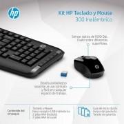 Kit Teclado e Mouse sem Fio HP 300 Preto 2.4GHZ