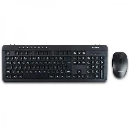 Kit Teclado e Mouse sem Fio Recarregavel 2.4GHZ USB Preto Multilaser TC250