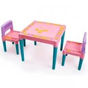 Mesa Infantil Educativa Desmontavel com 2 Cadeiras Rosa Tritec 4130