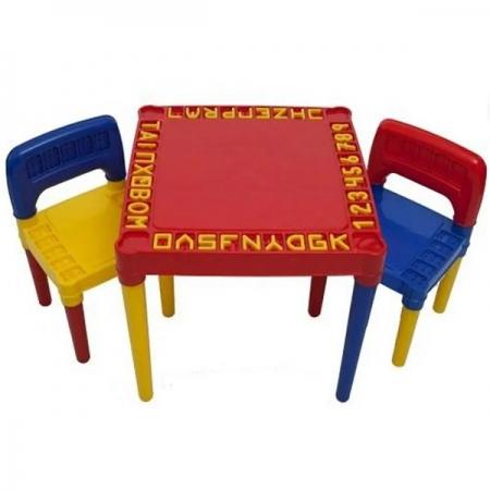 Mesa Infantil Educativa Desmontavel com 2 Cadeiras Vermelha Tritec 3827