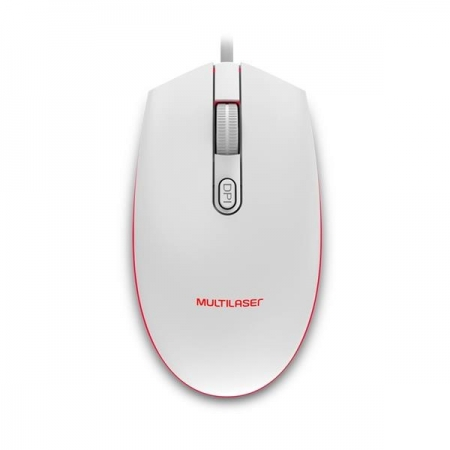 Mouse Gamer Multilaser 2400DPI LED 7 Cores Branco MO299