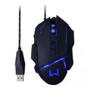 Mouse Gamer Warrior 3.200DPI USB Preto Multilaser MO261
