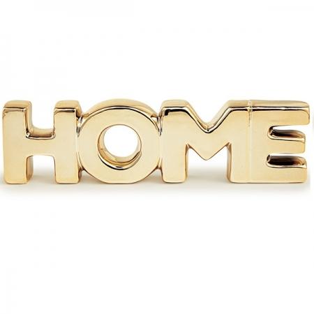 Palavra Decorativa Home em Ceramica Dourado MART 12154