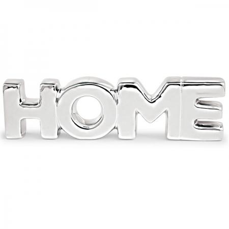 Palavra Decorativa Home em Ceramica Prata MART 12156