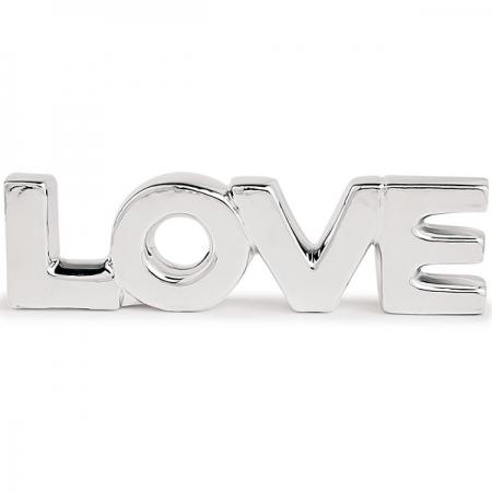 Palavra Decorativa Love em Ceramica Prata MART 12153