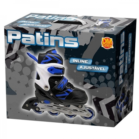 Patins Inline Ajustavel Radical M (33-37) AZUL/PRETO DM TOYS DMR5870M