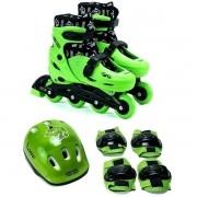 Patins Roller Infantil 4 Rodas IN Line Verde com KIT Proteçao UNIK TOYS 39-42