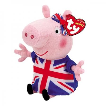 Pelucia Beanie Babies Peppa PIG Union JACK Peppa DTC 4535