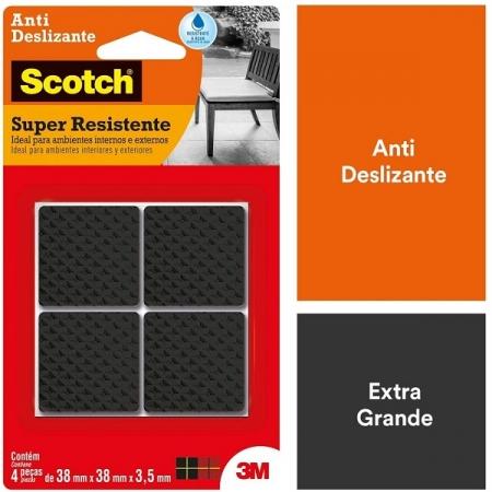 Protetor ANTI Deslizante Quadrado GG 38MM X 38MM X 3,5MM com 4 SCOTCH 3M
