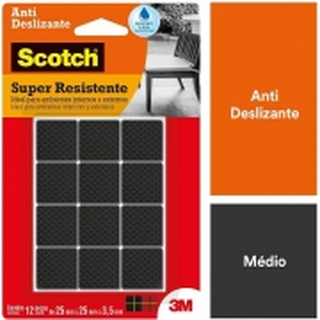 Protetor ANTI Deslizante Quadrado M 25MM X 25MM X 3,5MM com 12 SCOTCH 3M