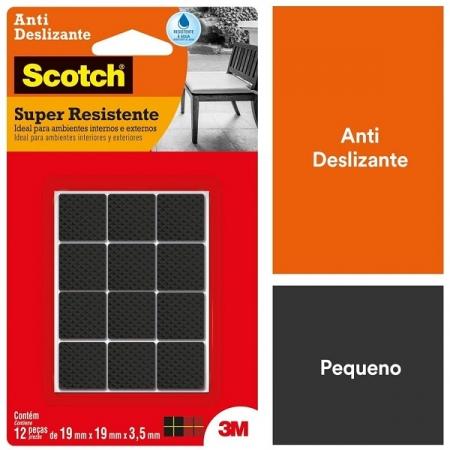 Protetor ANTI Deslizante Quadrado P 19MM X 19MM X 3,5MM com 12 SCOTCH 3M