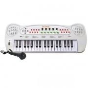 Teclado e Microfone Infantil HS-999 DM TOYS Branco DMT5386