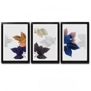 Trio de Quadro Decorativo 43X33X1CM Preto Sheets Dobuart