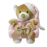 Urso de Pelucia com Manta FOFY Soninho BABY Rosa DM TOYS DMB5978