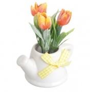 Vaso de Ceramica com FLOR Laranja ART House ZF5062