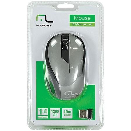 Mouse sem Fio 2.4GHZ Preto Grafite USB 1200DPI PLUG AND PLAY Multilaser MO213
