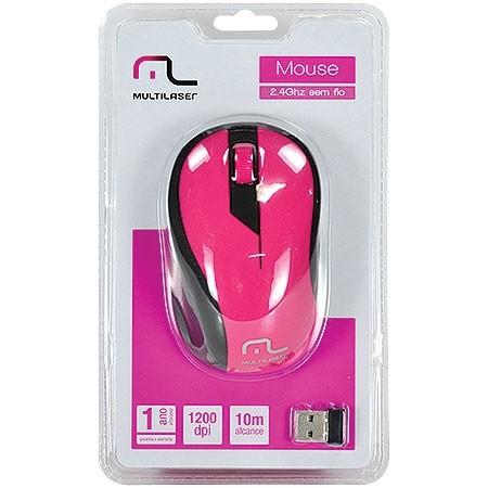 Mouse sem Fio 2.4GHZ Preto e Rosa USB 1200DPI PLUG AND PLAY Multilaser MO214