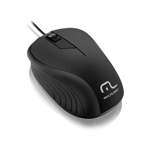 Mouse USB Emborrachado Multilaser MO222 Preto