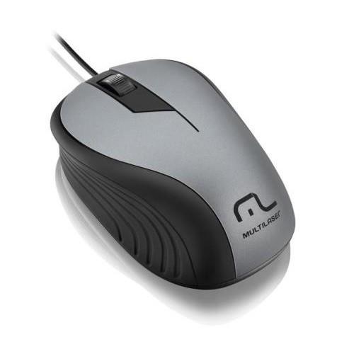 Mouse USB Emborrachado Multilaser MO225 CINZA/PRETO