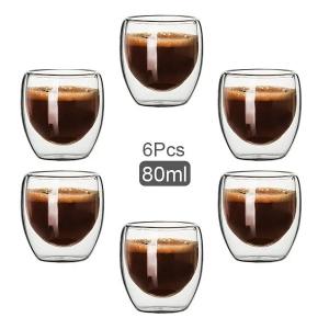 Jogo 6 Copos Vidro Café Expresso Parede Dupla 80ML Mimo STYLE