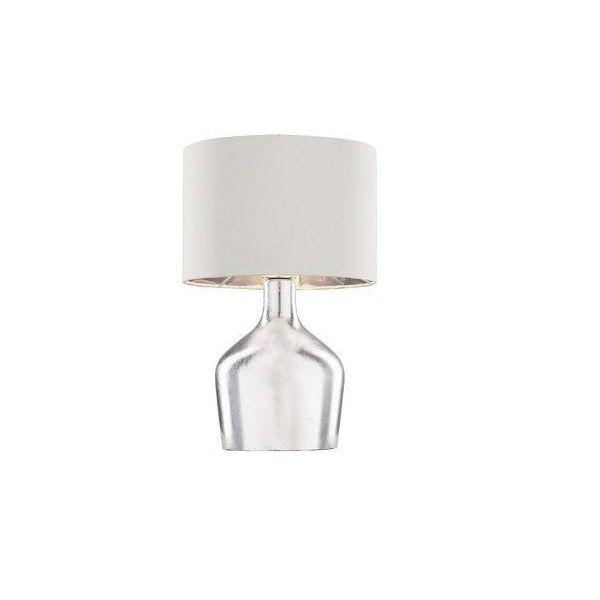 Abajur em Vidro e Tecido Cromado Cupula Branca MART 7355