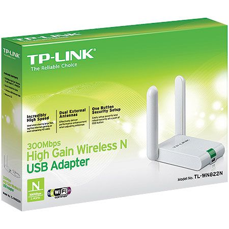 Adaptador Wireless TP-LINK TL-WN822N USB ALTO Ganho N 300MBPS
