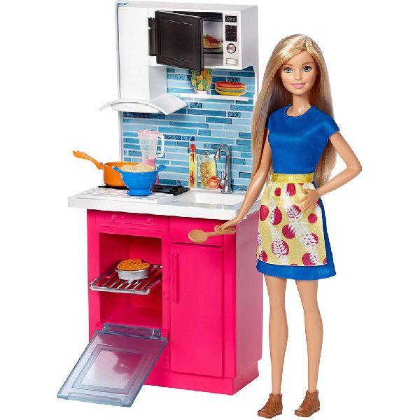 Barbie Real Movel com Boneca Cozinha Mattel DVX51