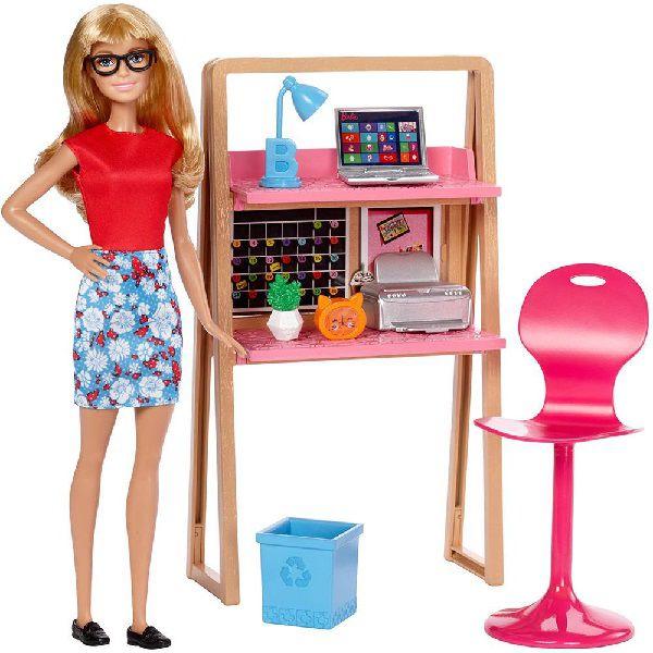 Barbie Real Movel com Boneca Escritorio Mattel DVX51