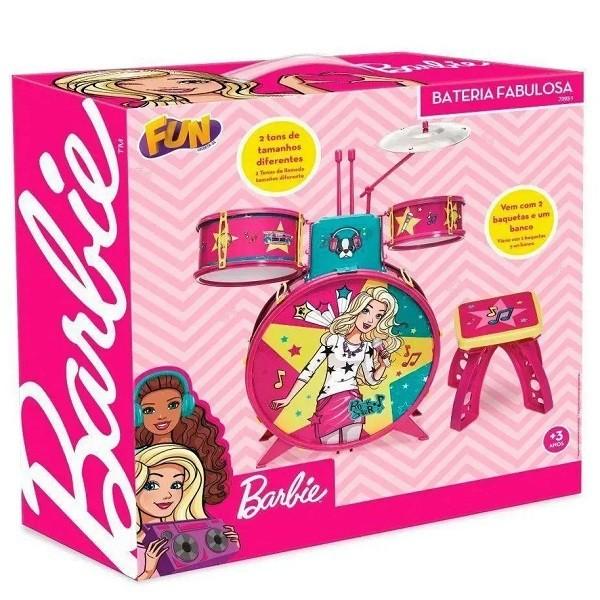 Bateria Infantil com Banquinho Barbie Fabulosa FUN F0004-7