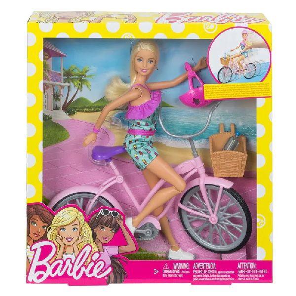 Boneca Barbie e Veiculo - Barbie e Bicicleta Mattel FTV96