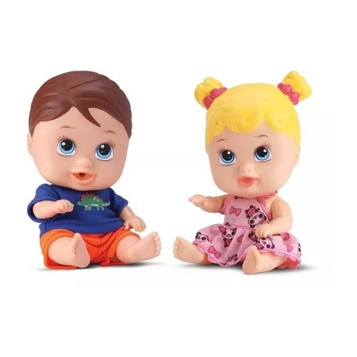 Boneca Bebe Little DOLLS Gemeos Divertoys 8037
