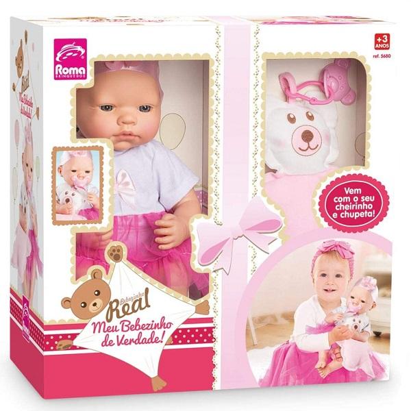 Boneca Bebezinho Real Rosa Roma 5680
