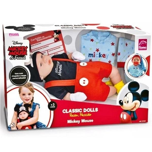 Boneca Classic DOLLS Recem Nascido Mickey Roma 5161