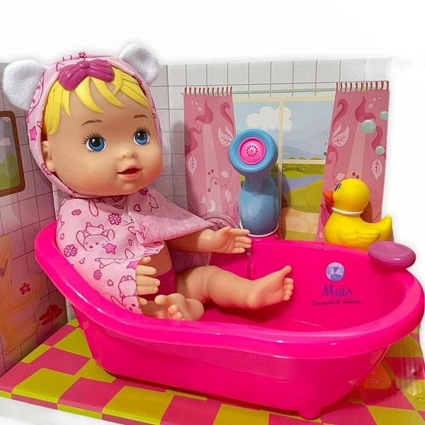Boneca MY Little Banho Ducha Sai de Agua Verdade Divertoys 8005