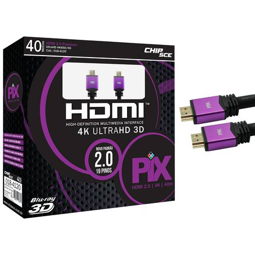Cabo HDMI 40 Metros 2.0 4K ULTRA HD 3D 19 Pinos HDR CHIP SCE 018-4120