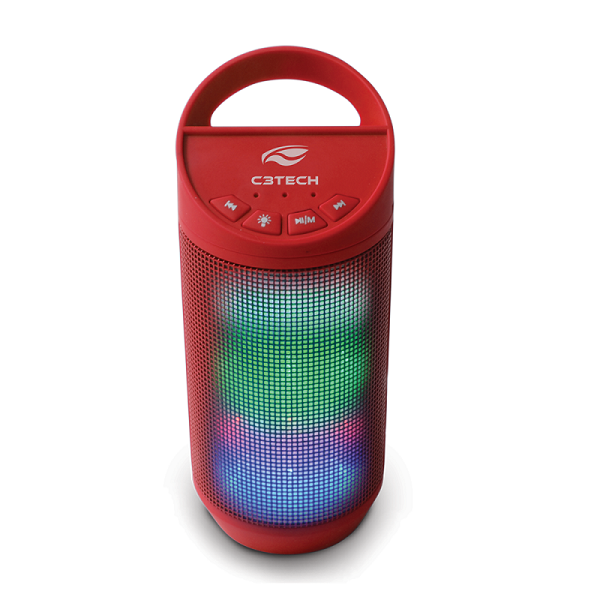 Caixa de Som Portatil Beat Bluetooth 8 WATTS RMS USB 2.0 WMA MP3 Vermelho SP-B50RD C3 TECH